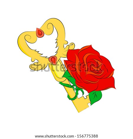 golden key and red rose isolated on white background - stock photo