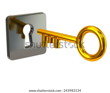 Golden key and silver keyhole - stock photo