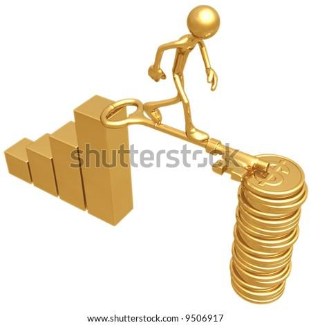 Golden Key Bridge Between Bar Graph And Dollar Coins - stock photo