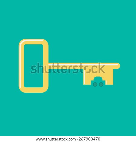 Golden key from car icon Flat design Green background  - stock photo