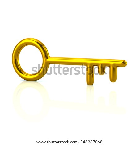 Golden key icon 3d rendering on white background