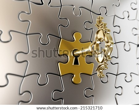 Golden key on the puzzle part. - stock photo