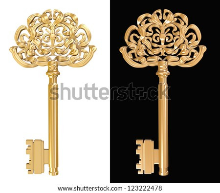 golden key on white and black background - stock photo