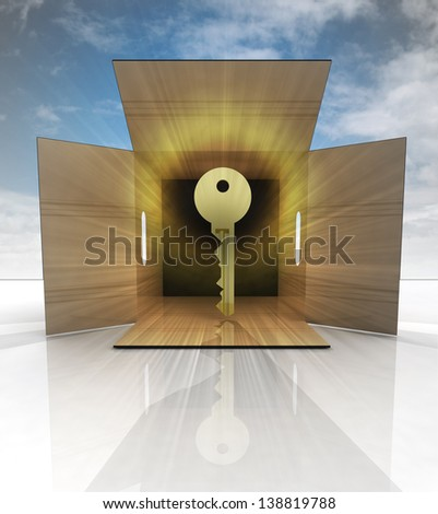 golden key product delivered in box with sky illustration