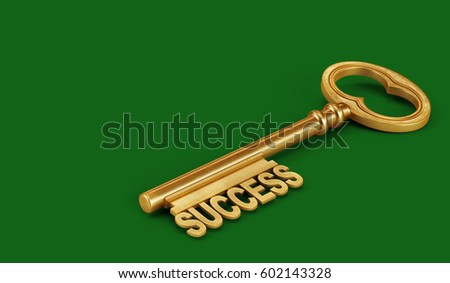 Golden Key Success on a green background. 3d render illustration.