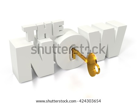 """Golden key to unlock the now. text """"the now"""" with keyhole and key isolated on white for presentation. 3D illustration. - stock photo"""