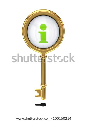 Golden key with info symbol.Isolated on white background.3d rendered. - stock photo