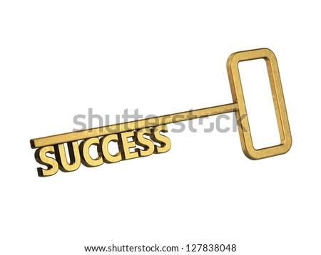 golden key with word success on a white background - stock photo