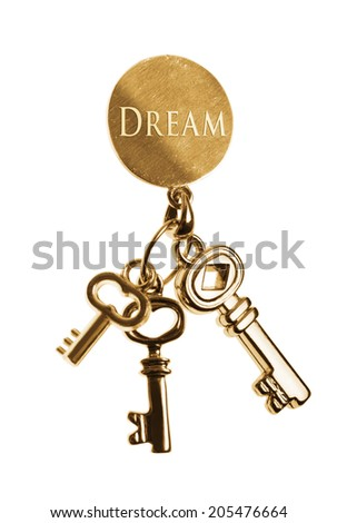 Golden keys for achieve your dreams. isolated on white.  - stock photo