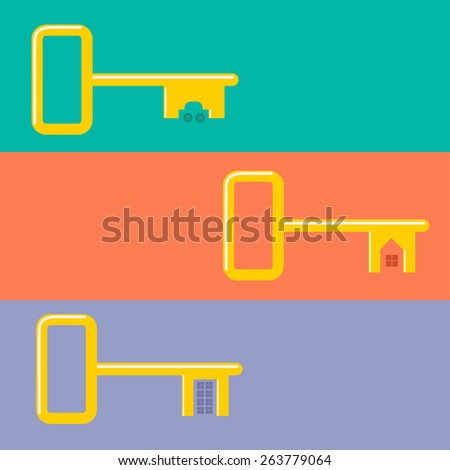 Golden keys from car, house, apartment Web banner set concept of buying a dream Flat design  - stock photo