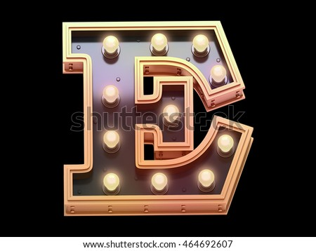 Golden lamp signboard font.3d rendering