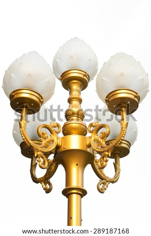 golden lamppost isolate on white background  - stock photo
