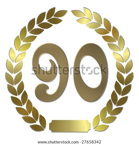 golden laurel wreath 90 years