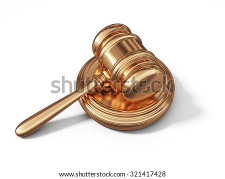 Golden law gavel. Legal concept. 3D isolated on white background - stock photo