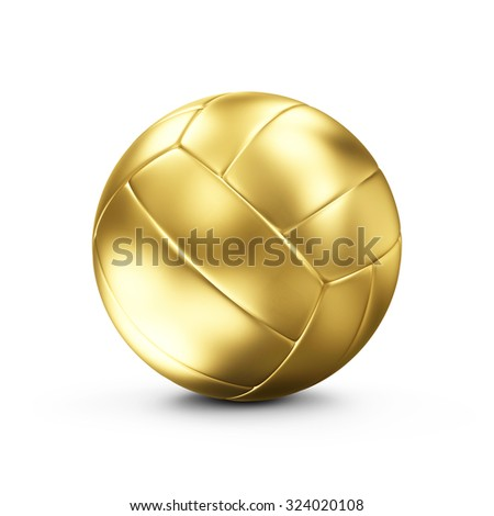 Golden Leather Volley Ball isolated on white background. Concept of Success. Sport and Recreation Concept. - stock photo