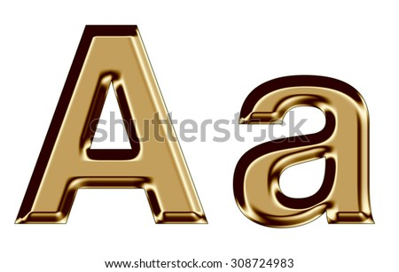 Golden letter A,a on white background