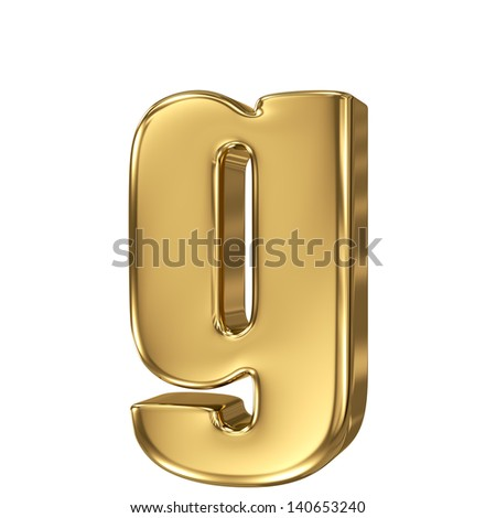 Golden letter g lowercase high quality 3d render isolated on white - stock photo