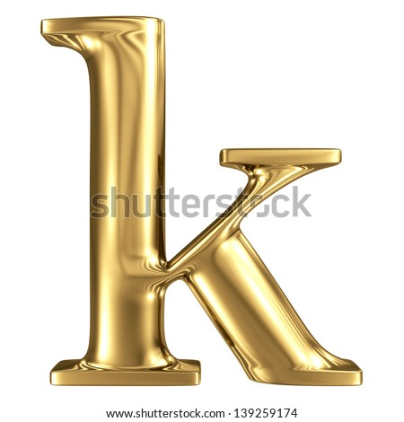 Golden letter k lowercase high quality 3d render isolated on white - stock photo