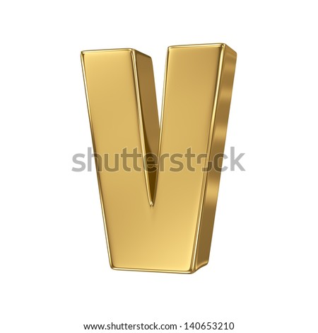 Golden letter v lowercase high quality 3d render isolated on white - stock photo