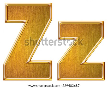 Golden letter Z in lowercase and Big high quality 3d render isolated on white