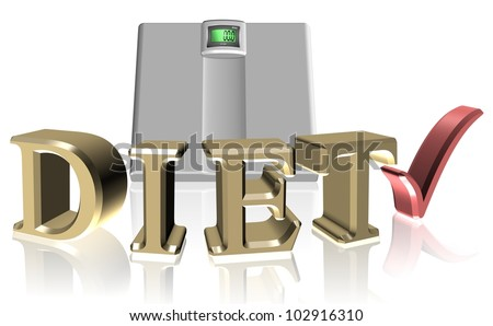 golden letters spelling diet surrounding a white scale / diet scale - stock photo