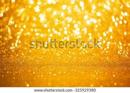 Golden lights background - stock photo