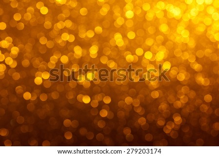 Golden lights bokeh background - stock photo