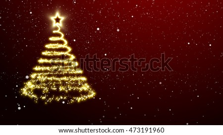 Golden lights Christmas tree with a star treetopper. Red background with snowflakes.