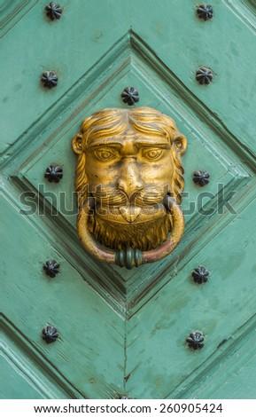 Golden lion  knocker on the old wooden green door - stock photo
