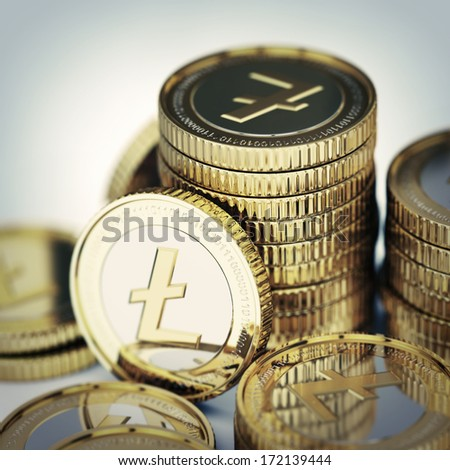 Golden Litecoin digital currency coin background