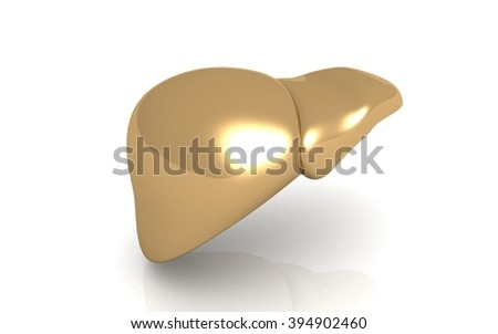 Golden liver on white background. High resolution. 3D render - stock photo