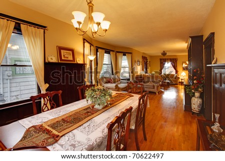 Golden living room and dining room