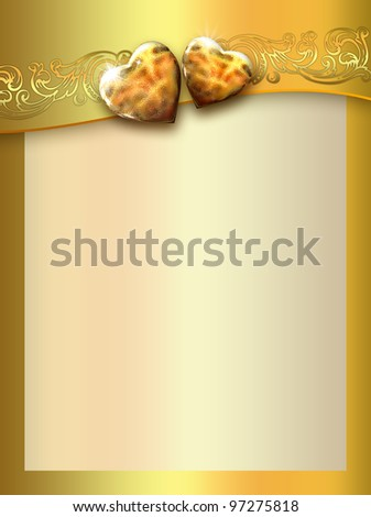 golden love hearts background - stock photo