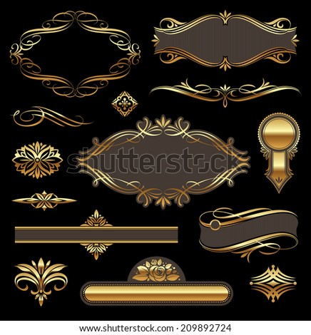 Golden luxury ornate frames & page decor elements - stock photo
