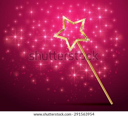 Golden magic wand on pink sparkle background, illustration. - stock photo