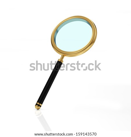 Golden Magnifying Glass isolated on white background - stock photo
