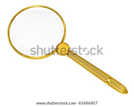 Golden magnifying glass isolated on white. High resolution 3D image - stock photo