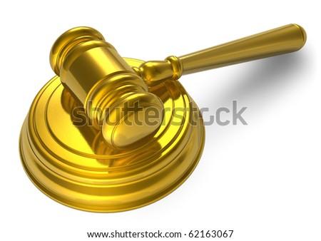 Golden mallet - stock photo