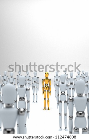Golden mannequin standing out between white mannequins - stock photo