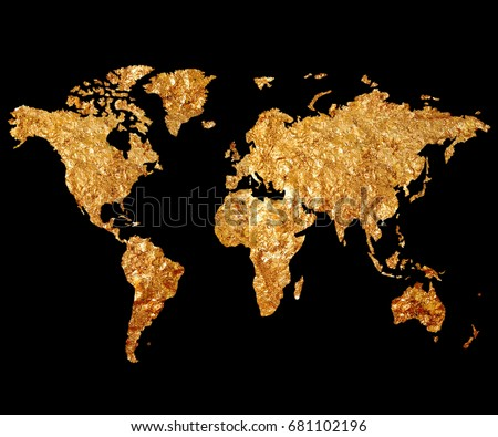 Golden map world on black background stock illustration 681102196 golden map of the world on a black background map of the planet in gilding gumiabroncs Choice Image