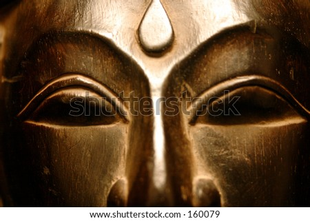 Golden Mask Series: frontal view closeup - stock photo
