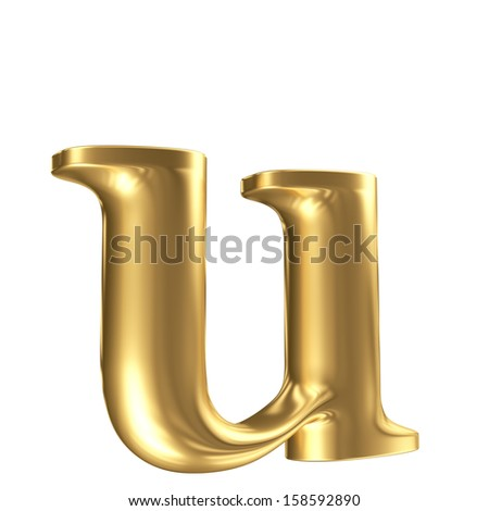 Golden matt lowercase letter u in perspective, jewellery font collection - stock photo