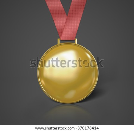 Golden Medal isolated on grey background. 3d illustration