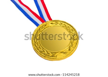 Golden medal isolated on white background. - stock photo