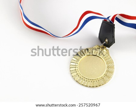 golden medal on the white background