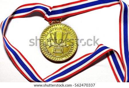 golden Medal, Winning, Victory on white background.