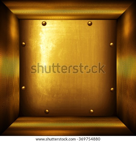 golden metal interior background - stock photo