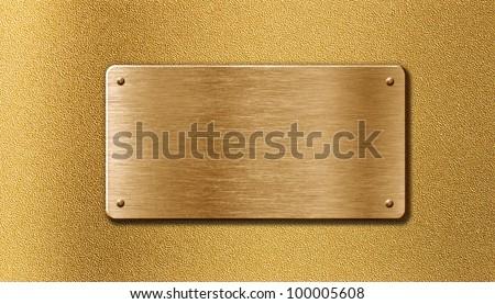golden metal plate - stock photo