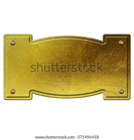 golden metal plate isolated on white