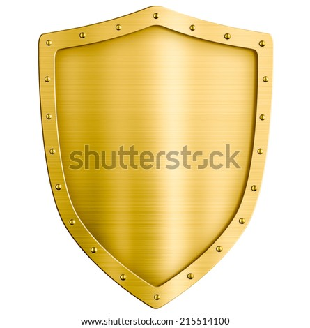 golden metal shield isolated on white - stock photo